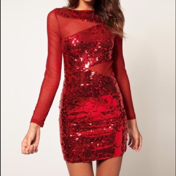 14209f04c87 ASOS Dresses   Skirts - ASOS Red Sequin Bodycon Holiday Dress